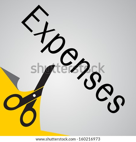 Scissors cutting paper with message 'Expenses'. Business concept on reduce or cut expenses or spending. Abstract background.  - stock vector
