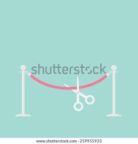 Scissors cutting pink rope silver barrier stanchions turnstile Flat design Vector illustration - stock vector