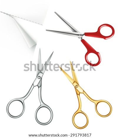 Scissors, set of vector icons - stock vector