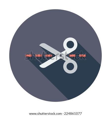 Scissors. Single flat color icon. Vector illustration. - stock vector