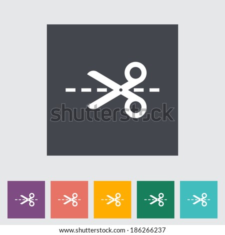 Scissors. Single flat icon on the button. Vector illustration. - stock vector