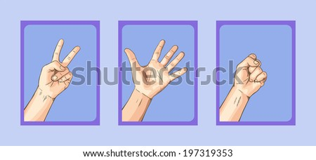 Scissors VS Paper VS Rock on Blue Tone - stock vector