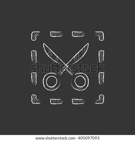 Scissors with dotted lines. Drawn in chalk icon. - stock vector