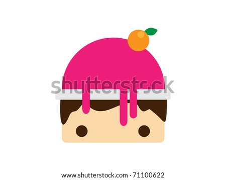 Scoop magenta ice cream in bowl. Vector illustration - stock vector