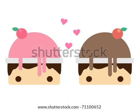 Scoop strawberry ice cream and Scoop chocolate ice cream in bowl. Vector illustration - stock vector