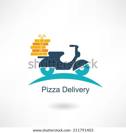 scooter carries pizza - stock vector