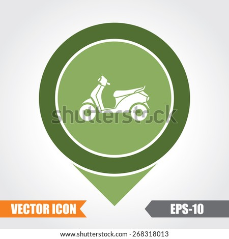Scooter Icon On Map Pointer. Eps.-10. - stock vector