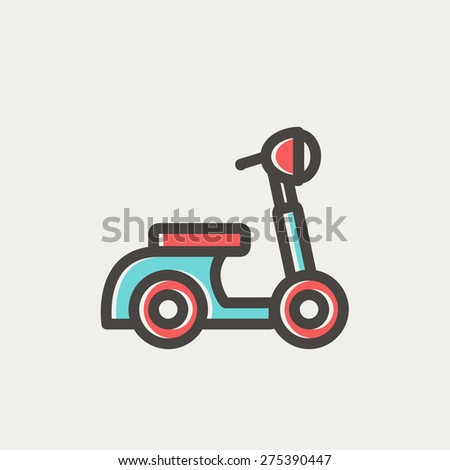 Scooter icon thin line for web and mobile, modern minimalistic flat design. Vector icon with dark grey outline and offset colour on light grey background. - stock vector