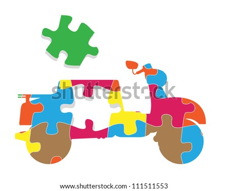 Scooter puzzle vector background concept - stock vector