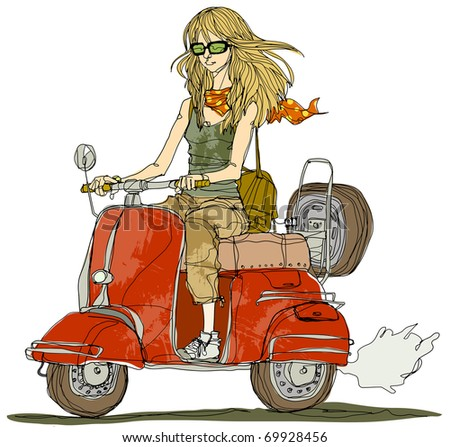 scooter riding girl - stock vector