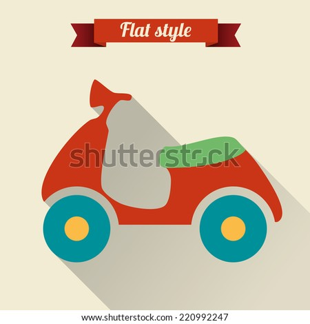 Scooter. Single flat icon. Vector illustration. - stock vector