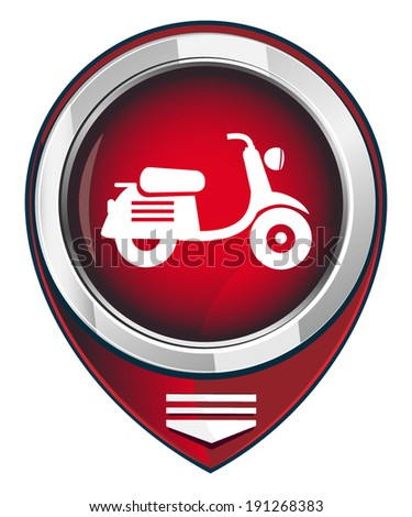 Scooter. Single red map pointer. - stock vector