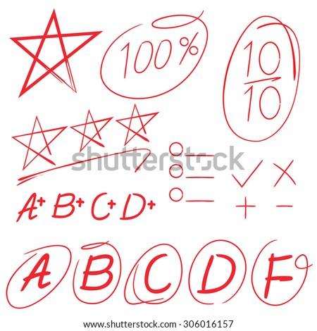 score, full marks, grade, star symbol, highlighter elements vector - stock vector
