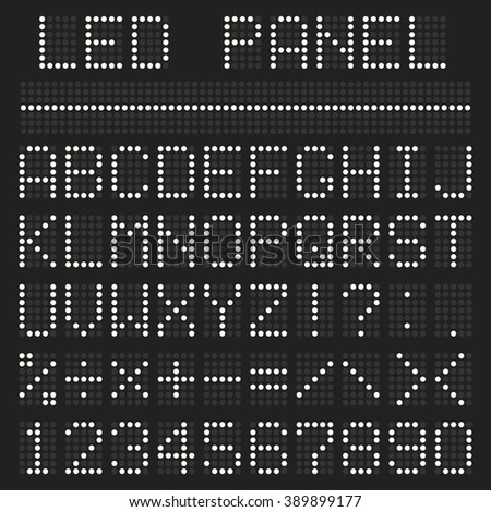 Scoreboard font alphabet. White letters and numbers imitating a digital display board. Vector illustration for design web site and print - stock vector