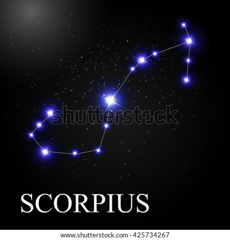 Scorpius Zodiac Sign with Beautiful Bright Stars on the Background of Cosmic Sky Vector Illustration EPS10 - stock vector