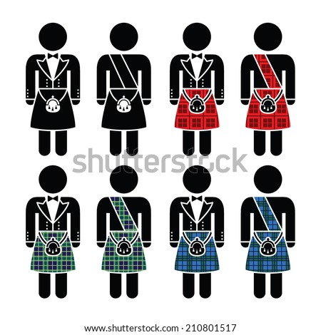 Scotsman, man wearing kilt vector icons set - stock vector