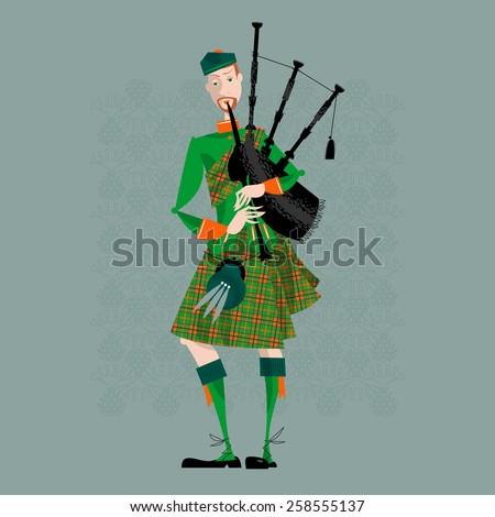 Scottish Bagpiper in uniform. Scottish tradition. Vector illustration - stock vector