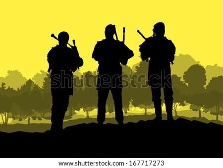 Scottish bagpiper silhouette landscape vector background concept - stock vector