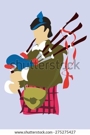 Scottish musician piper. Vector - stock vector