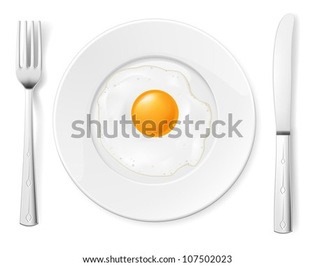 Scrambled egg in a bowl with a fork and knife - stock vector