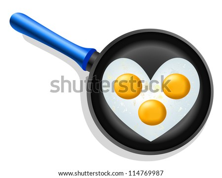 scrambled eggs in a heart shape in a frying pan - stock vector