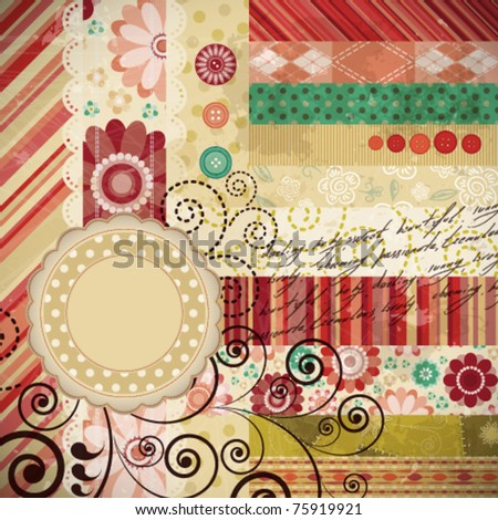 Scrap background made in the classic patchwork technique with floral stamps and handwriting text. - stock vector