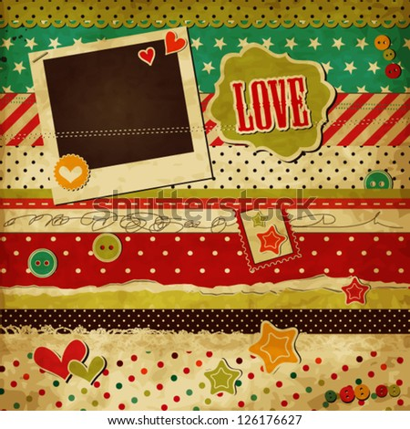Scrap template of vintage worn distressed design with blank space for your photo and text, love design for Valentine's day - stock vector