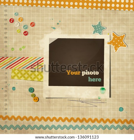 Scrap template of vintage worn distressed design with photo frame and other elements - stock vector