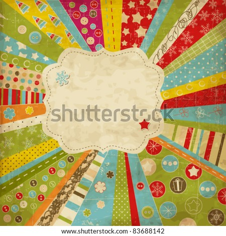 Scrap template with Christmas items - stock vector