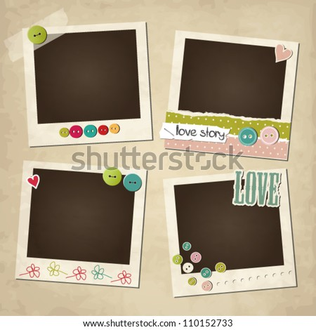 Scrap vintage set of photo frames - stock vector