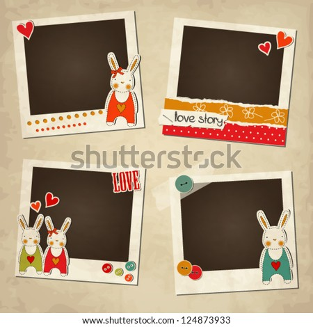 Scrap vintage set of photo frames, St.Valentine's Day photo frames, romantic templates with rabbits - stock vector