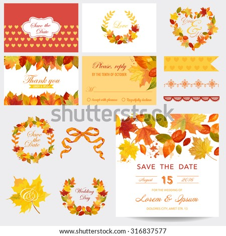 Scrapbook Design Elements - Autumn Leaves Theme - Wedding or Baby Shower Set- in vector - stock vector