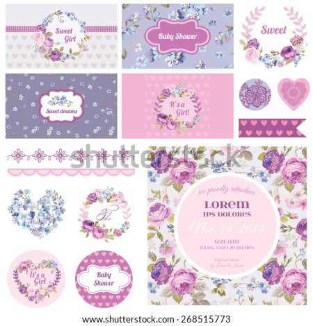 Scrapbook Design Elements - Baby Shower Flower Theme - in vector - stock vector