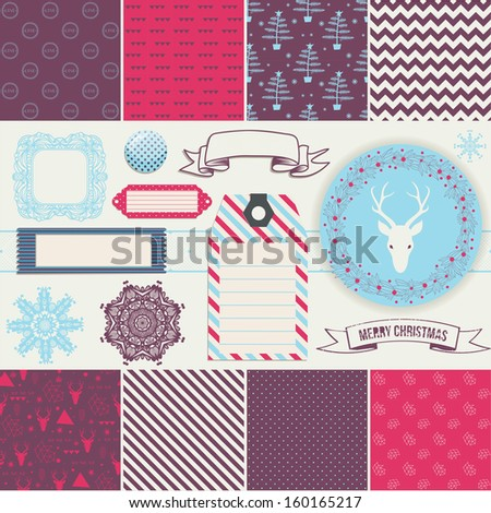 Scrapbook Design Elements: Christmas decorations, frames, ribbon, label, snowflakes, deer  head and set of 8 cute backgrounds. For design or scrap booking. - stock vector