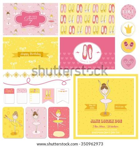 Scrapbook Design Elements - Cute Ballerina Set - for baby shower, birthday, party - in vector - stock vector