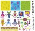 Scrapbook Design Elements - Cute Little Robots Collection - in vector - stock vector
