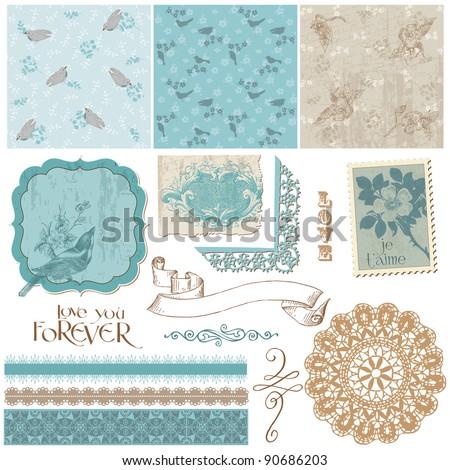 Scrapbook Design Elements - Vintage Birds and Flowers - stock vector