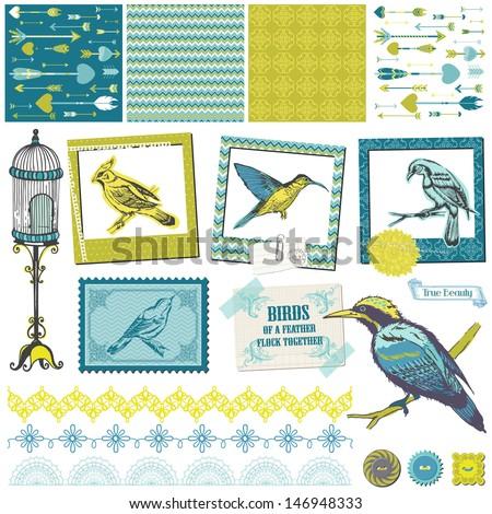 Scrapbook Design Elements - Vintage Birds Set - for design and scrapbook - in vector - stock vector