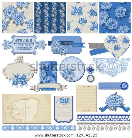 Scrapbook Design Elements - Vintage Blue Flowers - in vector - stock vector