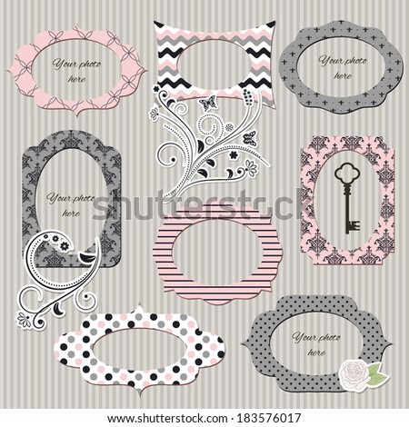 Scrapbook design elements. Vintage photo frames and floral decor in pink and grey colors. - stock vector