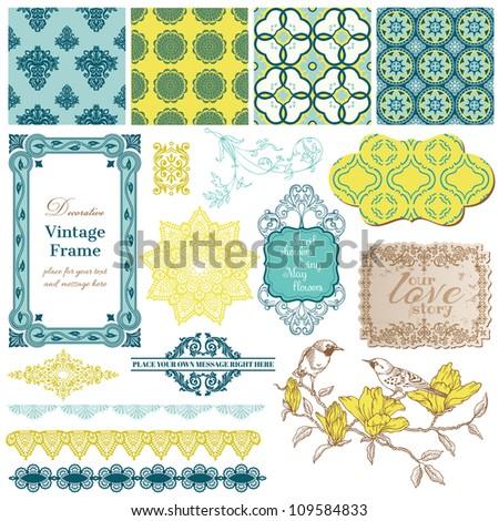 Scrapbook Design Elements - Vintage Tiles and Birds- in vector - stock vector