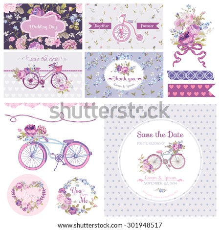 Scrapbook Design Elements - Wedding Party Flowers and Bicycle Theme - in vector - stock vector
