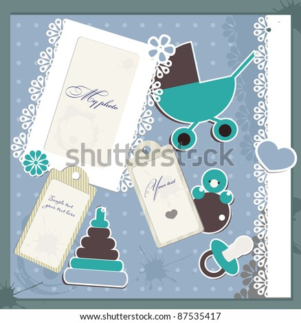 Scrapbook elements for vintage baby card - stock vector