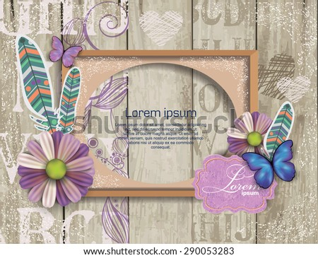 scrapbook elements on  wooden texture with frame - stock vector