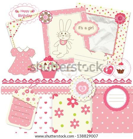 Scrapbook set for baby girl - stock vector
