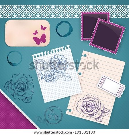Scrapbook Set: My Little Diary - notes, drawings, decorations - stock vector