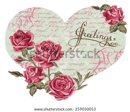 Scrapbook-style retro background or greeting card with stained paper, label and flowers. Beautiful vintage greeting card design. Antique postcards in heart shape. - stock vector