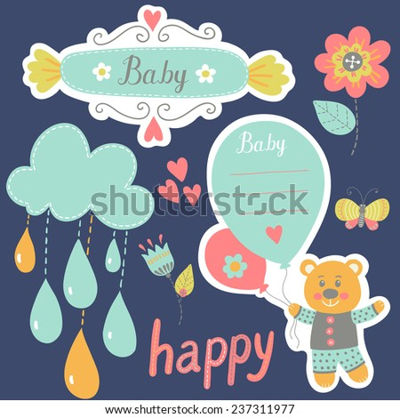 Scrapbook template. Sticker label. Set of cute frames and kids icon. Graphic elements for invitation cards, party invitation, holiday gifts, birthday cards.  Stickers, text box template - stock vector