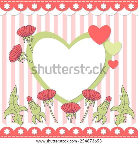 Scrapbook vector page. Heart photo frame. EPS10 - stock vector