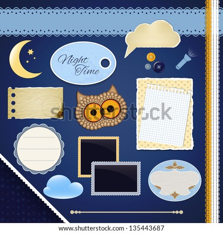Scrapbooking Set: Night Time- frames, ribbons, divider, notes and decorations - stock vector